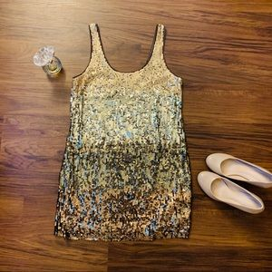 EXPRESS Gold Shiny Sequin Dress- Size M